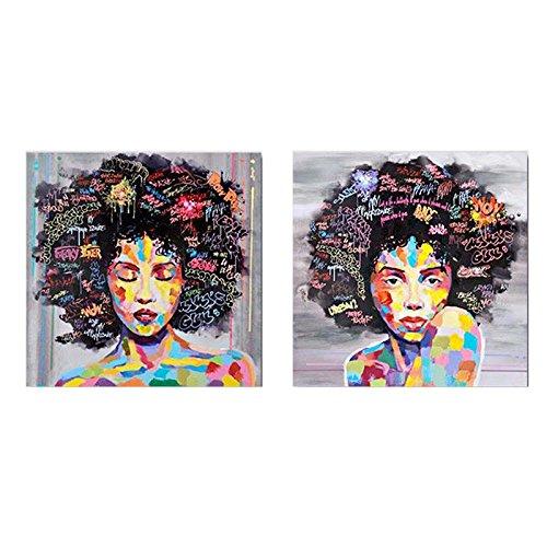 TOPmountain Lienzo de la Mujer Africana Arte de Pared para la Sala de Estar, 2 Paneles Impresiones de Lienzo de Cara Africana, Cuadro de Pintura Enmarcado, decoración del hogar