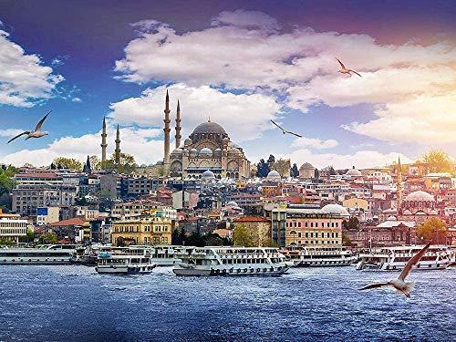 Juegos de rompecabezas de 1000 piezas para la edición familiar, rompecabezas de Estambul para adultos, de madera grande