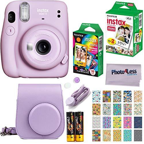 Fujifilm Instax Mini 11 Instant Camera + Fujifilm Instax Mini Twin Pack Instant Film (16437396) + Single Pack Rainbow Film + Case + Travel Stickers (Lilac Purple)