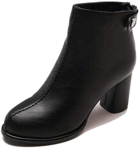 Frauen 7,5Cm Chunkly Heel Round Toe Ankle Stiefelie Martin Stiefel Handsome Pure Farbe Zipper OL Court Schuhe Eu Größe 34-40