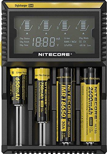 Nitecore digital D4 Ladegerät, Schwarz, One Size