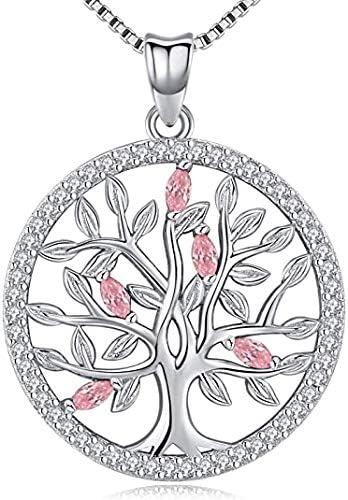 Aniu Collar Árbol de la Vida para Mujeres / Niñas, Colgante con Piedra de Nacimiento de Plata de Ley 925, Joyas de Circonita Cúbica 5A (con Caja de Regalo)