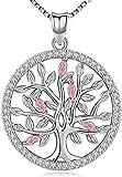 Aniu Collar Árbol de la Vida para Mujeres / Niñas, Colgante con Piedra de Nacimiento Rosa de Plata de Ley 925, Joyas de Circonita Cúbica Rosa 5A (con Caja de Regalo)