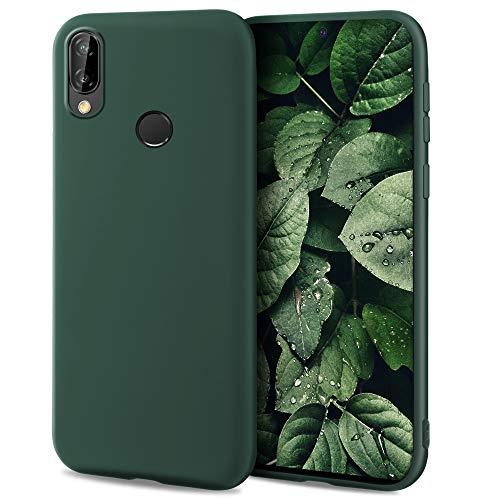 Moozy Minimalist Series, Cover in Silicone per Huawei P20 Lite, Verde Notte - Finitura Opaca, Custodia Sottile e Morbida in TPU