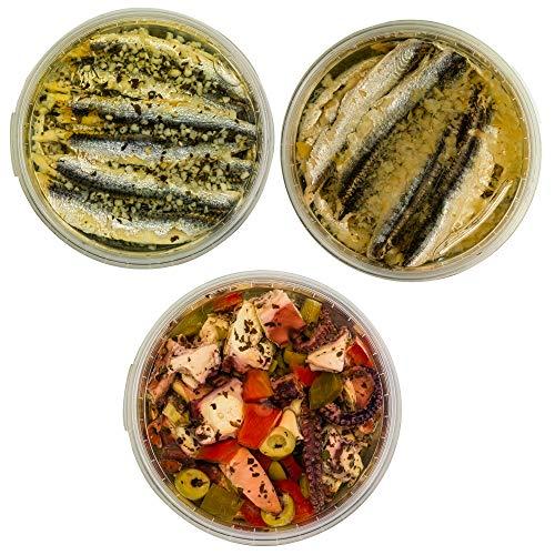 Food-United Meeres-Set – TINTENFISCH-SARDELLE - 3 x 280g - Zitronen-Sardellen & Oktopus-Salat & Knoblauch-Petersilie-Sardellen– für Pizza-Pasta-Nudeln-Antipasti-Salat