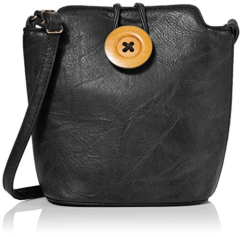 Bessie London Damen Wooden Button Cross Body Umhängetasche, Schwarz (Black), 8.5x20x22 Centimeters