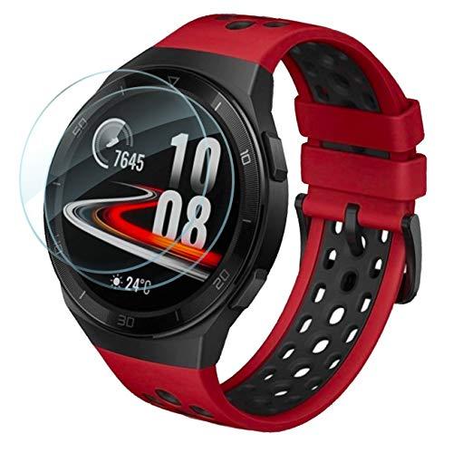 Lebama Schutzglas für Huawei Watch GT 2e Schutzfolie Zubehör Bildschirmschutzfolie Bildschirmschutz Premium Klar 9H Bildschirmfolie 46mm - 2 x Bildschirm Glas Folie für Huawei Watch GT 2e