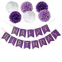 Happy Birthdayバナー パープルカード Happy Birthdayバナー ゴールド文字 誕生日パーティー用