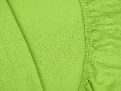 npluseins klassisches Jersey Spannbetttuch – erhältlich in 34 modernen Farben und 6 verschiedenen Größen – 100% Baumwolle, 70 x 140 cm, apfelgrün - 5