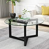 Fondeory Round Glass Coffee Table Modern Cocktail Table Easy Assembly Sofa Table for Living Room with Clear Top and Sturdy Wood Base, 35.3 inch