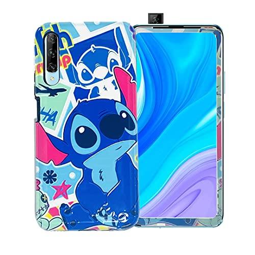 Generic Funda de Stitch con Mica de Cristal para Celular Huawei Y9s Hermoso Case de Mujer con Mica Protectora