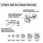 6 Paires 18G Boucles d'Oreilles en Acier Inoxydable Zircone Cubique Cartilage Oreille Hélix Piercings de Barbell Tragus… 9 Bijoutier Boutique 6 paires de boucles d'oreilles: est livré avec 6 paires de boucles d'oreilles couleur argent en 6 tailles différentes, 3 mm - 8 mm sont disponibles, chaque taille pour 1 paire, plus de choix pour un usage quotidien Caractéristiques: en acier inoxydable 316L, solide et durable, anti-rouille et ternir la résistance; Chaque boucle d'oreille polie dispose d'une pierre précieuse de zircone cubique scintillante Taille d'usage: calibre 18 (1 mm), longueur de barre portable de 6 mm, extrémité plate de 5 mm, taille commune pour s'adapter facilement à votre oreille; Convient pour le perçage des oreilles, convient également pour l'hélice, le piercing tragus