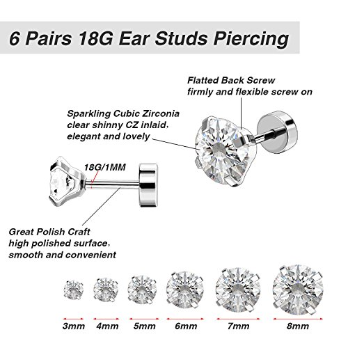 6 Paires 18G Boucles d'Oreilles en Acier Inoxydable Zircone Cubique Cartilage Oreille Hélix Piercings de Barbell Tragus… 2 Bijoutier Boutique 6 paires de boucles d'oreilles: est livré avec 6 paires de boucles d'oreilles couleur argent en 6 tailles différentes, 3 mm - 8 mm sont disponibles, chaque taille pour 1 paire, plus de choix pour un usage quotidien Caractéristiques: en acier inoxydable 316L, solide et durable, anti-rouille et ternir la résistance; Chaque boucle d'oreille polie dispose d'une pierre précieuse de zircone cubique scintillante Taille d'usage: calibre 18 (1 mm), longueur de barre portable de 6 mm, extrémité plate de 5 mm, taille commune pour s'adapter facilement à votre oreille; Convient pour le perçage des oreilles, convient également pour l'hélice, le piercing tragus