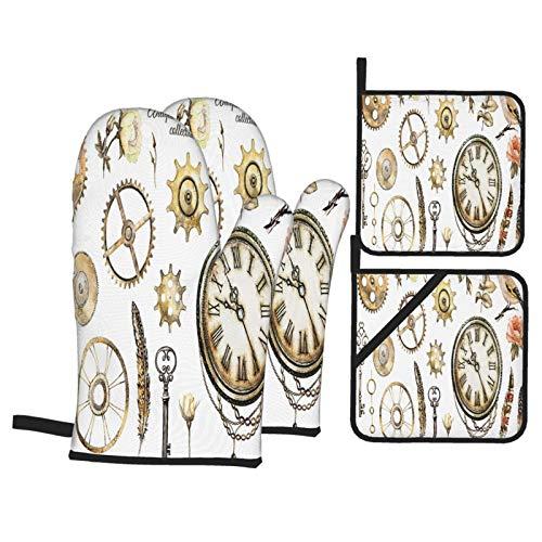 Juego de 4 Guantes y Porta ollas para Horno Resistentes al Calor Reloj Steam Punk Acuarela Ilustración Rosas para Hornear en la Cocina,microondas,Barbacoa