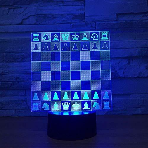 Tablero De Ajedrez Lámpara 3D 7 Cambio De Color Luz De Noche Led Para Niños Touch Led Mesa Usb Kit De Iluminación Para Dormir Para Bebés Regalo