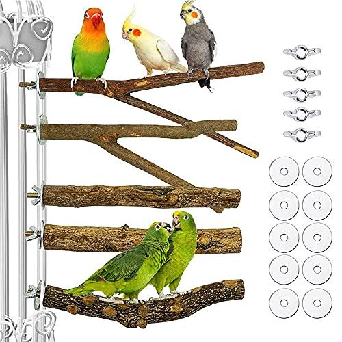 Bssowe 5 Piezas Perchas para Jaulas Pájaros, Perchas Forma Y para Loros, Juego Perchas para Pájaros Juguete, 2 Varillas Madera Y y 3 Piezas Varillas Madera Pimienta, para Periquito