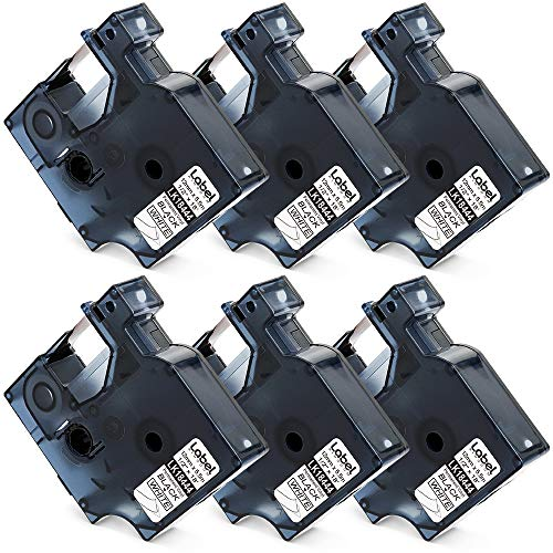 Label KINGDOM Compatible Label Tape Replacement for Dymo 18444 Rhino Industrial Permanent Vinyl Label Tapes, Black on White, Work with Dymo Rhino 4200 5200 5000 Label Maker, 1/2 Inch x 18 Feet, 6-Pack