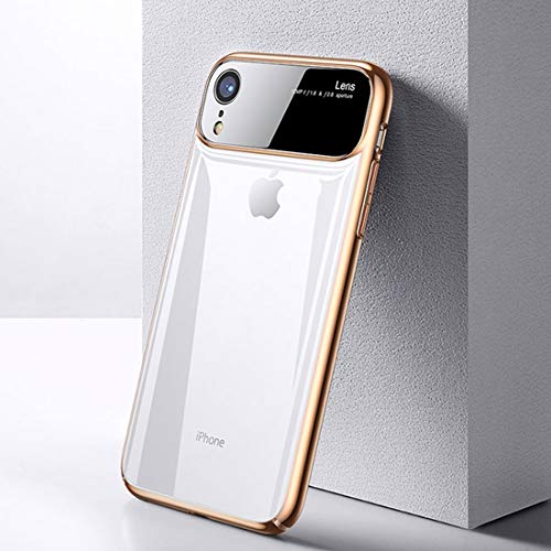 BANAZ Caja Protectora De La Caja del Teléfono Mágica Serie del Espejo A Prueba De Golpes PC + Cristal For iPhone XR St (Color : Gold)