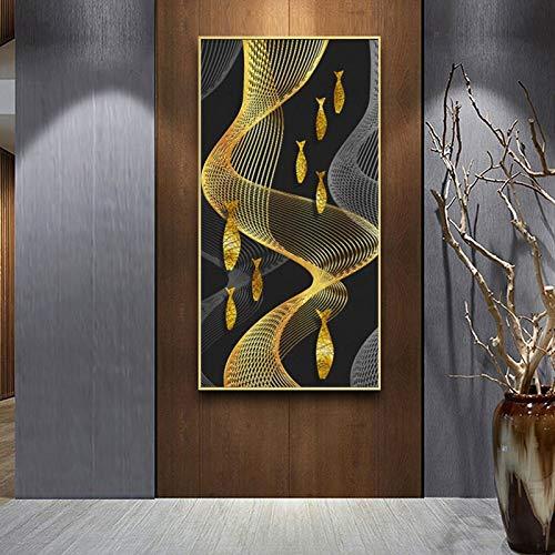 KWzEQ Immagine Astratta Moderna di Arte della Parete della Stampa del Manifesto e della Tela del Pesce Rosso e Linea Astratta,Pittura Senza Cornice,75x150cm