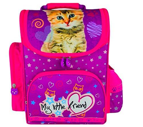 Katze My Little Friend Schulranzen Rucksack 36 x 27 x 16 cm Kinderrucksack Ranzen Mädchen rosa wasserabweisend + GRATIS Wachsmalkreide