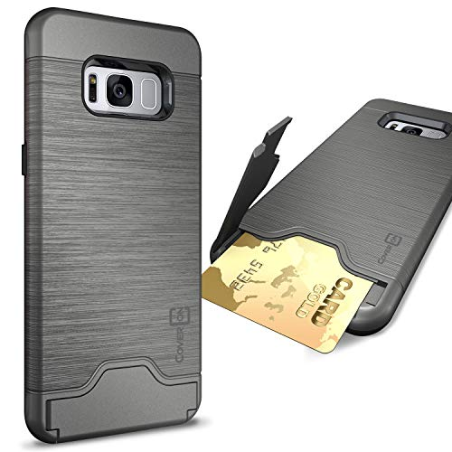 CoverON Credit Card Holder Protective SecureCard Series for Samsung Galaxy S8 Plus Case, Gunmetal Gray