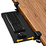 Tangkula 26.5 x 12 Inch Clamp-on Keyboard Tray Under Desk, Adjustable Ergonomic Desk Extender for Keyboard, Mouse, Slide Keyboard Stand with Sturdy C-Clamps, No Screws into Desk (Black)