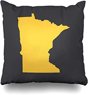 Pandarllin Throw Pillow Cover Map Graphic Minnesota Bordermap Simple International Abstract America American Cartography Design Cushion Case Home Decor Design Square Size 20 x 20 Inches Pillowcase
