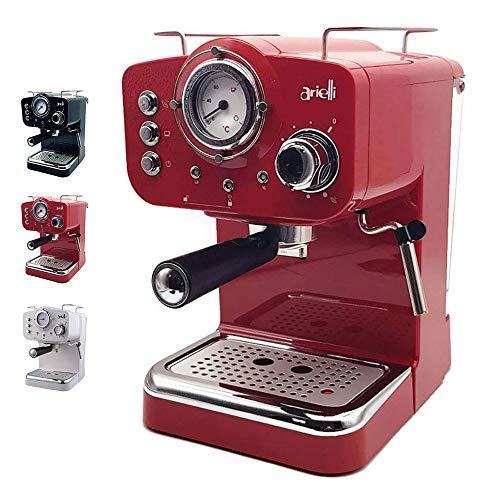 ARIELLI KM-501 Modello 2019 Macchina Caffè Espresso Macinato/Cialde 2 Filtri per 1/2 tazze Vaporizzatore per tè o cappuccino Sistema di sicurezza Termometro 1100W 15bar 1.25L (Rosso)