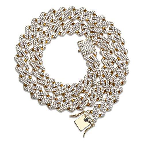 Selia Hip Hop Collana Striscia Miami Cubana Piena di zirconi Moda Accessori Uomo,Gold,S