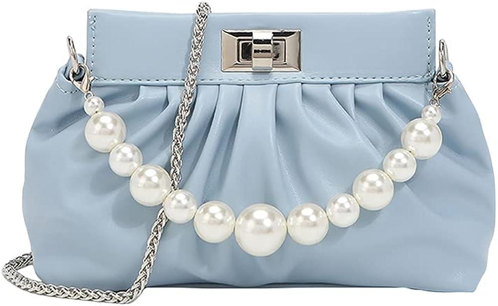Women's Shoulder Clutch Bag, Cloud-Shaped Dumpling Pouch HandBag with Chain