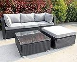 Enjoy Fit Polyrattan Lounge Sitzgruppe Gartenmöbel-Set Poly Rattan Garnitur 3 Sitzplätze, Rattan: schwarz/Bezüge: grau