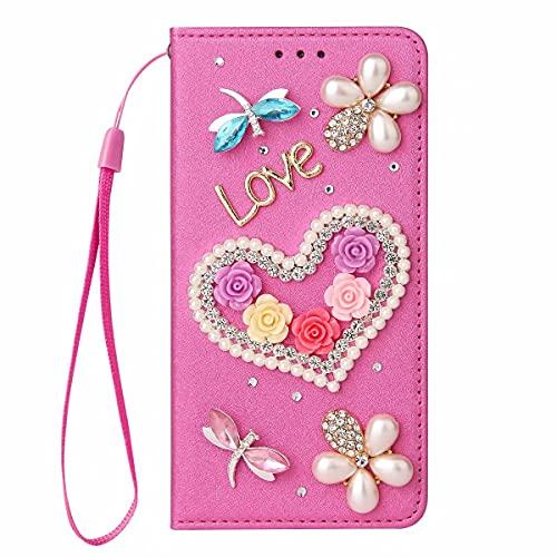 Miagon Étui à Rabat pour iPhone XR,3D Coque Paillettes Portefeuille Brillante Diamant Housse en PU Cuir Folio Case Cover,Cœur Rose Rouge