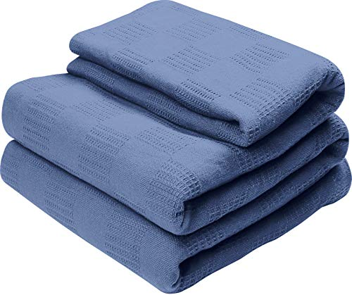 Utopia Bedding Premium Summer Cotton Blanket King Wedgewood - Soft Breathable Thermal Blanket - Ideal for Layering Any Bed