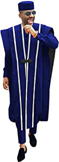 African Men Clothing Agbada Robe Dashiki Shirts Ankara Pants Tribal Hat Wedding Evening Outfits 4 Pieces