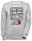 Luxogo Sometimes I Burn Things Cat Unisexo Gris Sudadera Hombre Mujer Unisex Grey Jumper Men's...