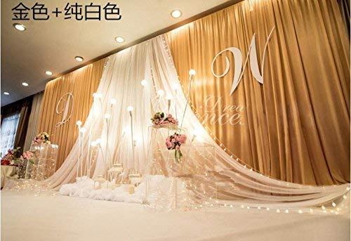 20x10ft Luxury Wedding Stage Silk Backdrop Background Curtains with Beauty Yarn Gauze Decoration (Gold+White)
