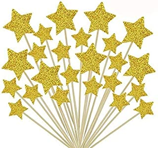 HYOUNINGF 50 Pcs Gold Star Cupcake Toppers,Star Cupcake Toppers Twinkle Twinkle Little Star Decorations Birthday Cupcake Toppers Glitter Gold Cupcake Toppers for Party Cake Decorations