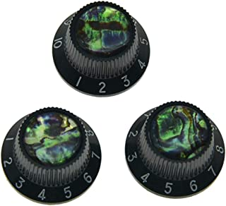 KAISH Set of 3 Plastic Push on Fit Abalone Top ST Strat Knobs Guitar/Bass Knob fits Metic 5.8mm Split Pots Black