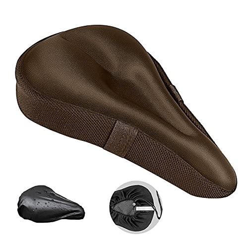 Funda Sillin Bicicleta,Funda Sillin Bicicleta Estatica Gel, Suave y Transpirable, Alivia el Dolor, Adecuado para Bicicletas de Carretera/Montaña. (marrón)