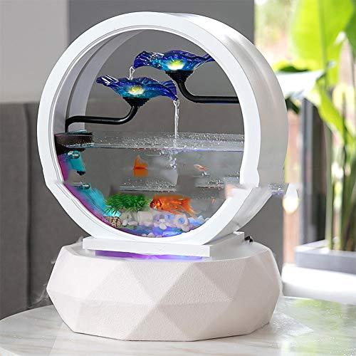 GWFISH Europeo De Cerámica De Cristal del Agua del Acuario, Fishing Bowl Fuente De Humidificación, Regalos De Negocio En Movimiento, Escritorio Decoración De Interiores,2