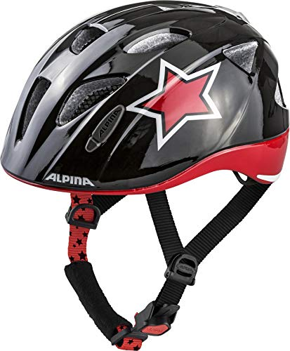 ALPINA XIMO FLASH Fahrradhelm, Kinder, black-red-white star, 45-49