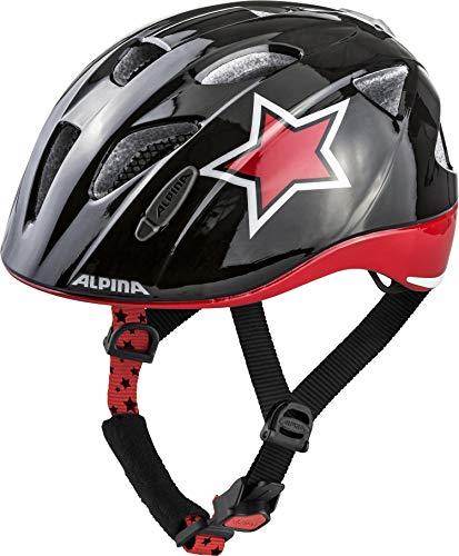 ALPINA XIMO FLASH Fahrradhelm, Kinder, black-red-white star, 49-54