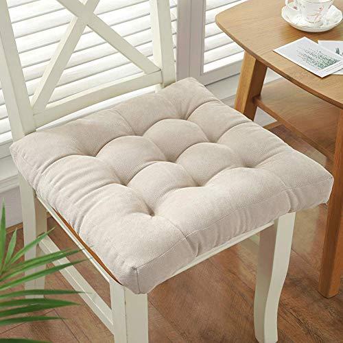 DIELUNY Cojín de asiento cuadrado para interiores y exteriores, color sólido, cojines de silla japoneses, transpirables, almohadillas de asiento de pana superrellenas, color crema, blanco