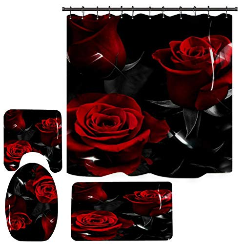 Daxin 3D Digital Shower Curtain Set Non-Slip Rug, Toilet Lid Cover, Bath Mat, Waterproof Shower Curtain Set with 12 Hooks for Bathroom Valentine's Day (Rose Flower-B)