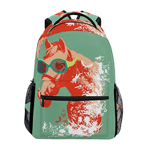 Kühle Rotes Pferd Studentenrucksack Kinderrucksack Büchertasche Schülerrucksack mit Laptop Rucksäcke für die Reise Teen Mädchen Jungs
