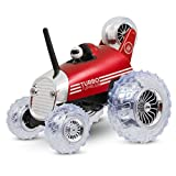 Sharper Image Premium Turbo Tumbler 27 MHz Children's Remote Control Spinning 360° Rally Car Toy for Boys/Girls, Stunt RC Race Truck with Driver, RED