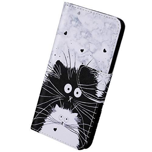 Herbests Kompatibel mit iPhone 11 Pro Hülle Leder Flip Case Handy Schutzhülle Ledertasche Klapphülle Brieftasche Handytasche kratzfestes Wallet Case Magnet Ständer,Schwarz Katze