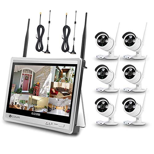 Wireless Surveillance Camera System Forcovr 8 Channel 1080P Home Security System CCTV Wifi NVR Kit with 12.5inch LCD Monitor and 6PCS 960P HD Outdoor Waterproof Night Vision IP Cameras with 2TB HDD