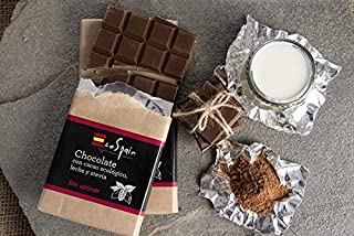Chocolate con leche, stevia y cacao ecológico. Sin azúcar añadido. Apto para diabéticos. Sin gluten. 100 gr.