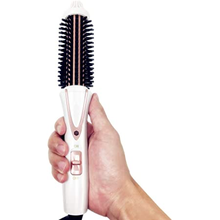 Sussie Daddy Curling Iron Brush Ceramic Tourmaline Ionic Travel Dual Voltage Hot Hair 1 inch Anti-Scald Heated Curling Wands Round Hair Styler Curler Brush Electric